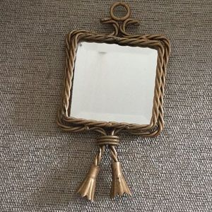 Gold Tone Hanging Mirror, or Lie Flat
